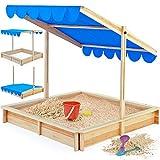 Sandkasten Spielhaus Holz Sandbox Sandkiste Kinder 120x120cm mit höhenverstellbarem und neigbarem Sonnendach Sandkiste Kindersandkasten Buddelkiste Holz UV-Schutz 50