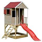 Holz Kinder Spielhaus Holzhaus Gartenhaus Haus Kinderhaus mit Sandkasten Kreidetafel, Plattform, Treppe und Rutsche